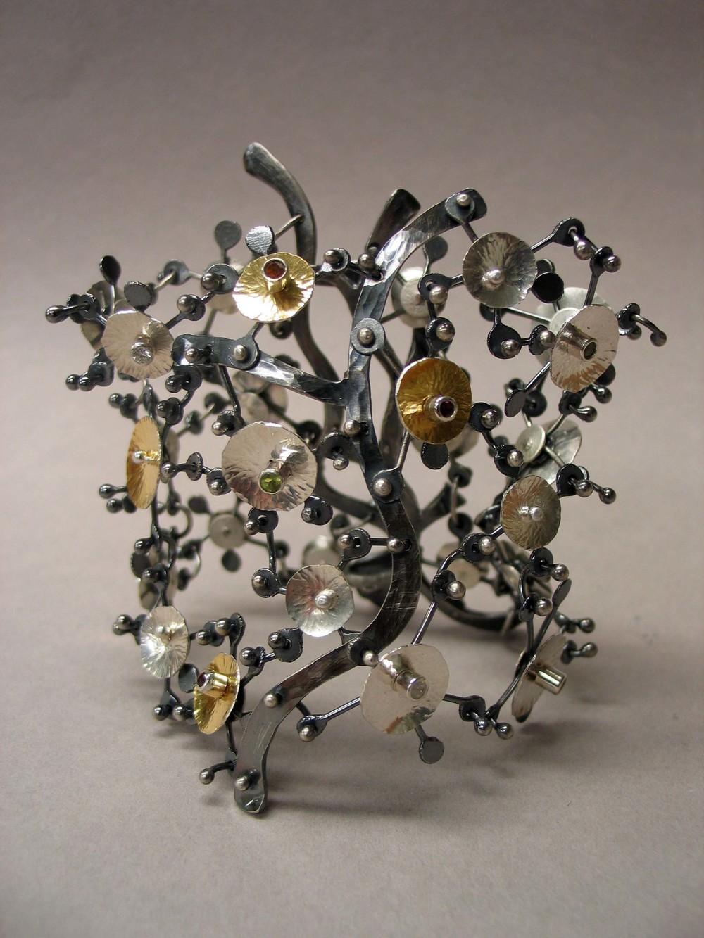 """Wild Flowers Meet Chain Maille"" bracelet by Kerstin Nichols,"