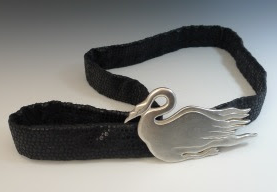 """Swan Belt,"" sterling silver and fabric"