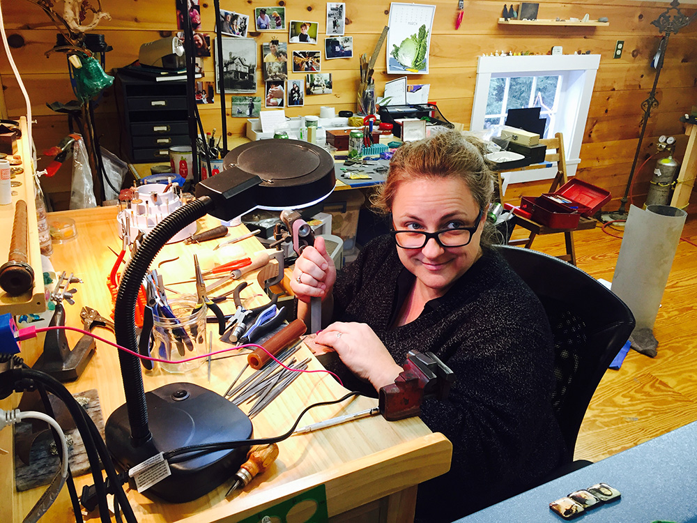 "Elizabeth Scwartz pictured in her ""happy place"" (studio)"
