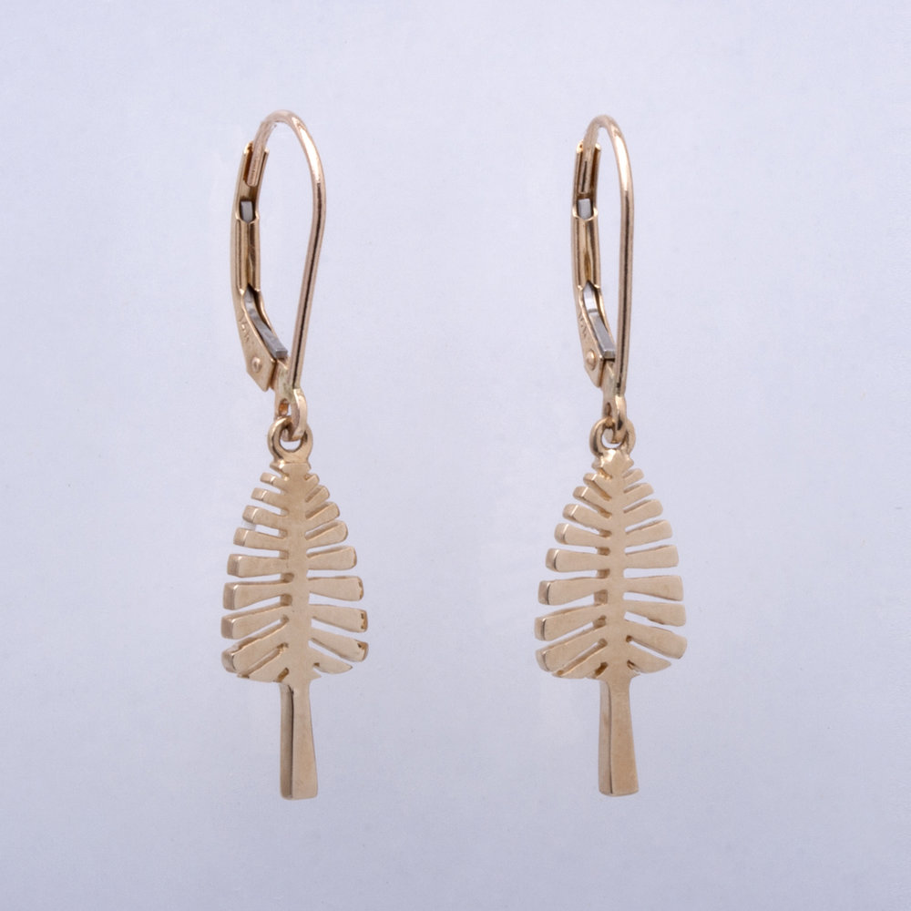 Yellow Gold Leverback Earrings