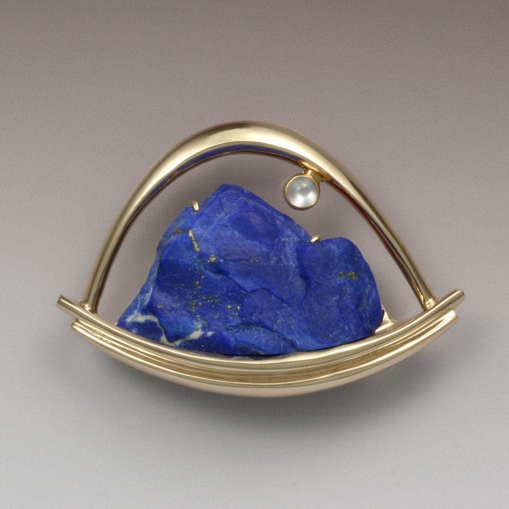 Lapis and Moonstone Brooch