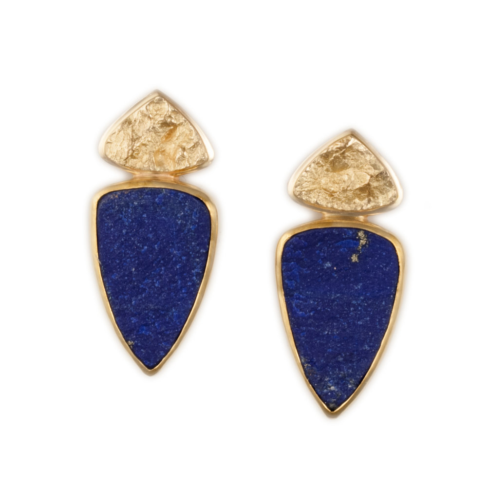 Lapis Earrings with Textured Gold
