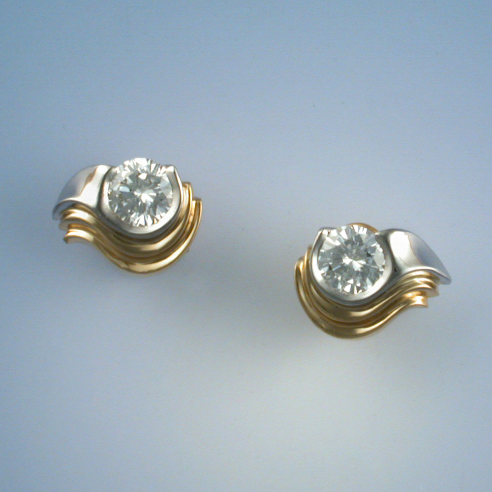 Diamond Earrings with Platinum and Gold