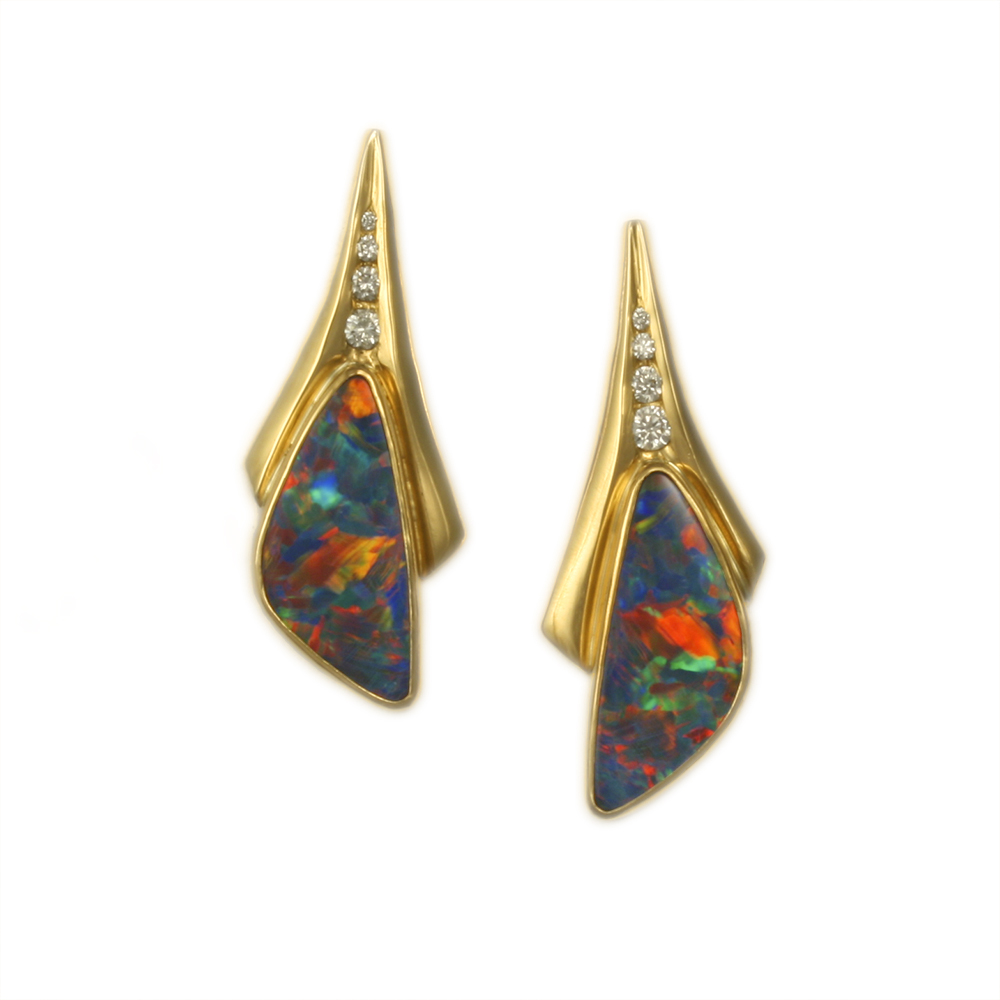 Opal Doublet and Diamond Earrings