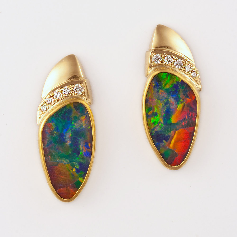 Opal Doublets with Diamond Slipper Earrings