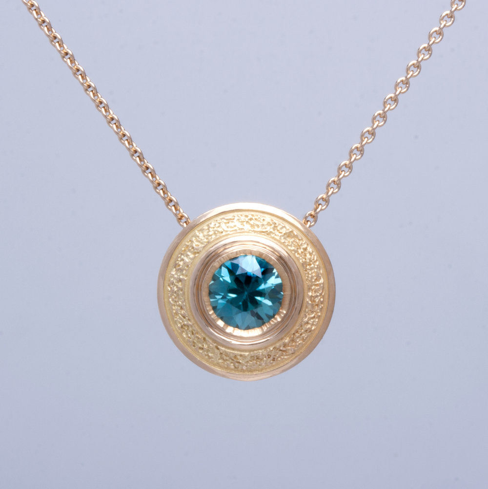 Blue Zircon Wafer Necklace
