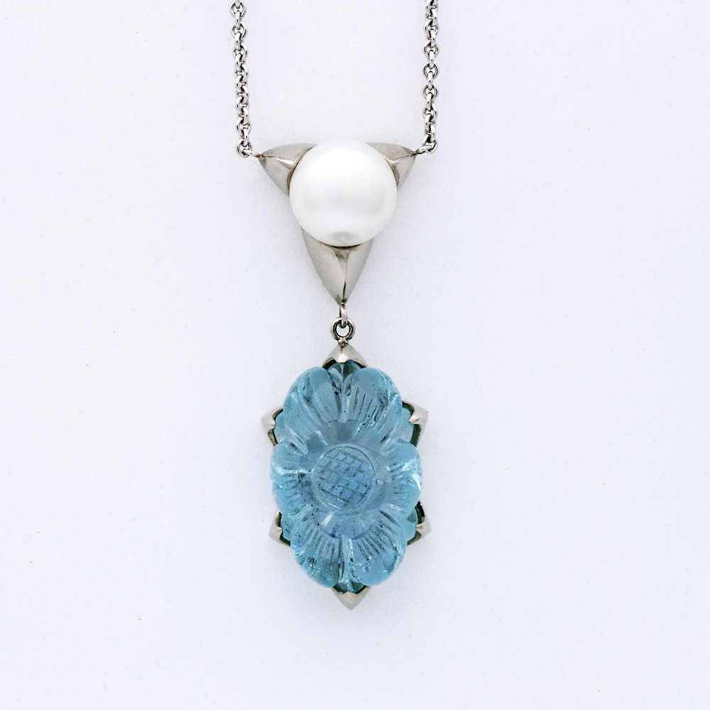 Aquamarine Flower Necklace