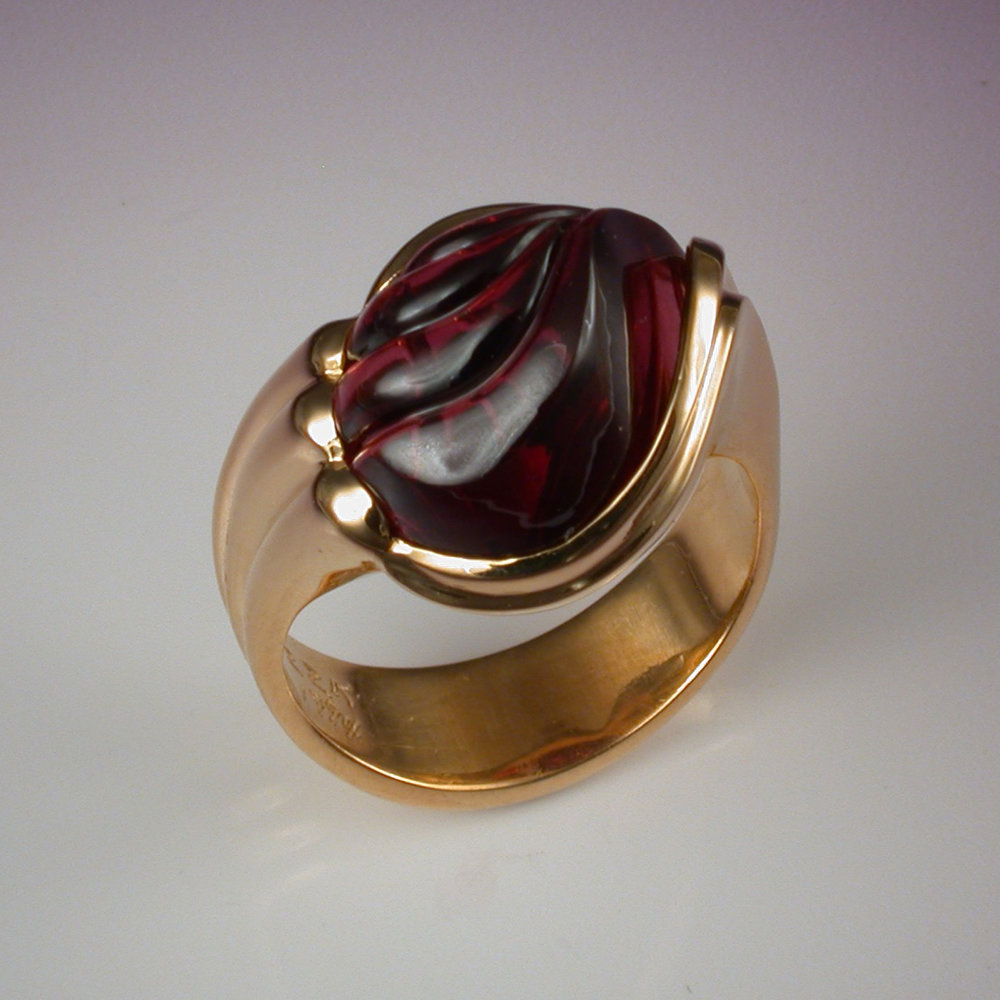 Carved Garnet Ring