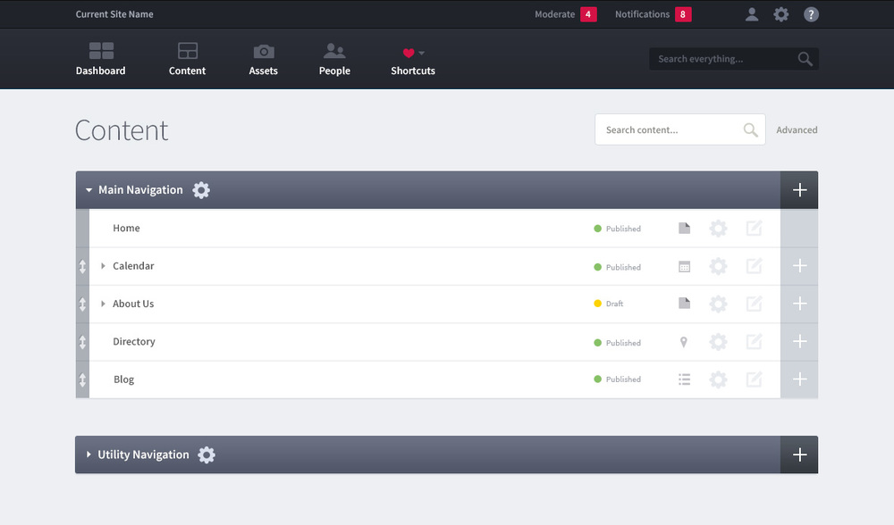 Control Panel - FedWeb includes a feature-rich control panel with a drag-and-drop page builder, asset and member management, and a moderation and notification system for administrators and content managers.All content is managed in a simple outline format that automatically generates website navigation.