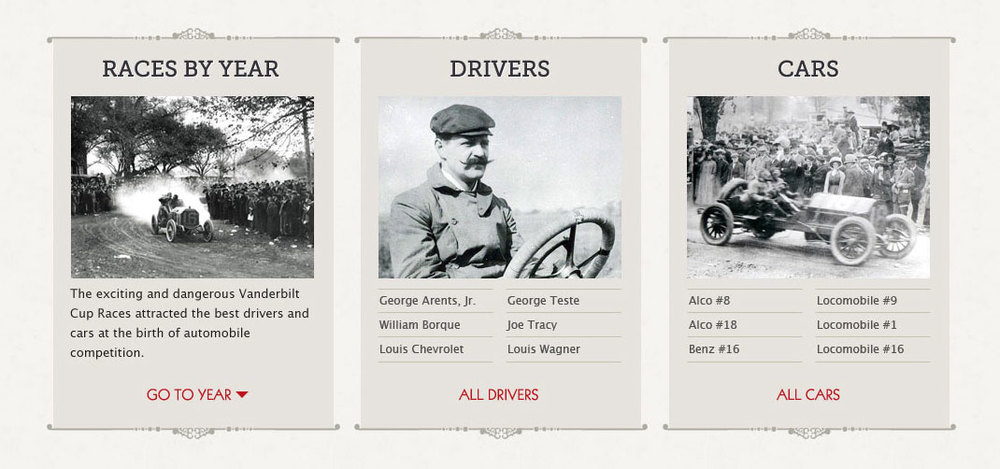 Browsing the Museum - A new landing page for the main content of the museum highlights races by year, drivers and cars.