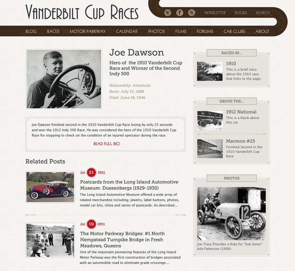 Driver Profiles - Detailed profiles of races, drivers and cars were created, with relationships to show who drove what cars in what years, and related articles from the blog.