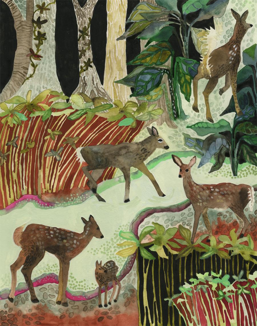 Deer Crossing the Swamp