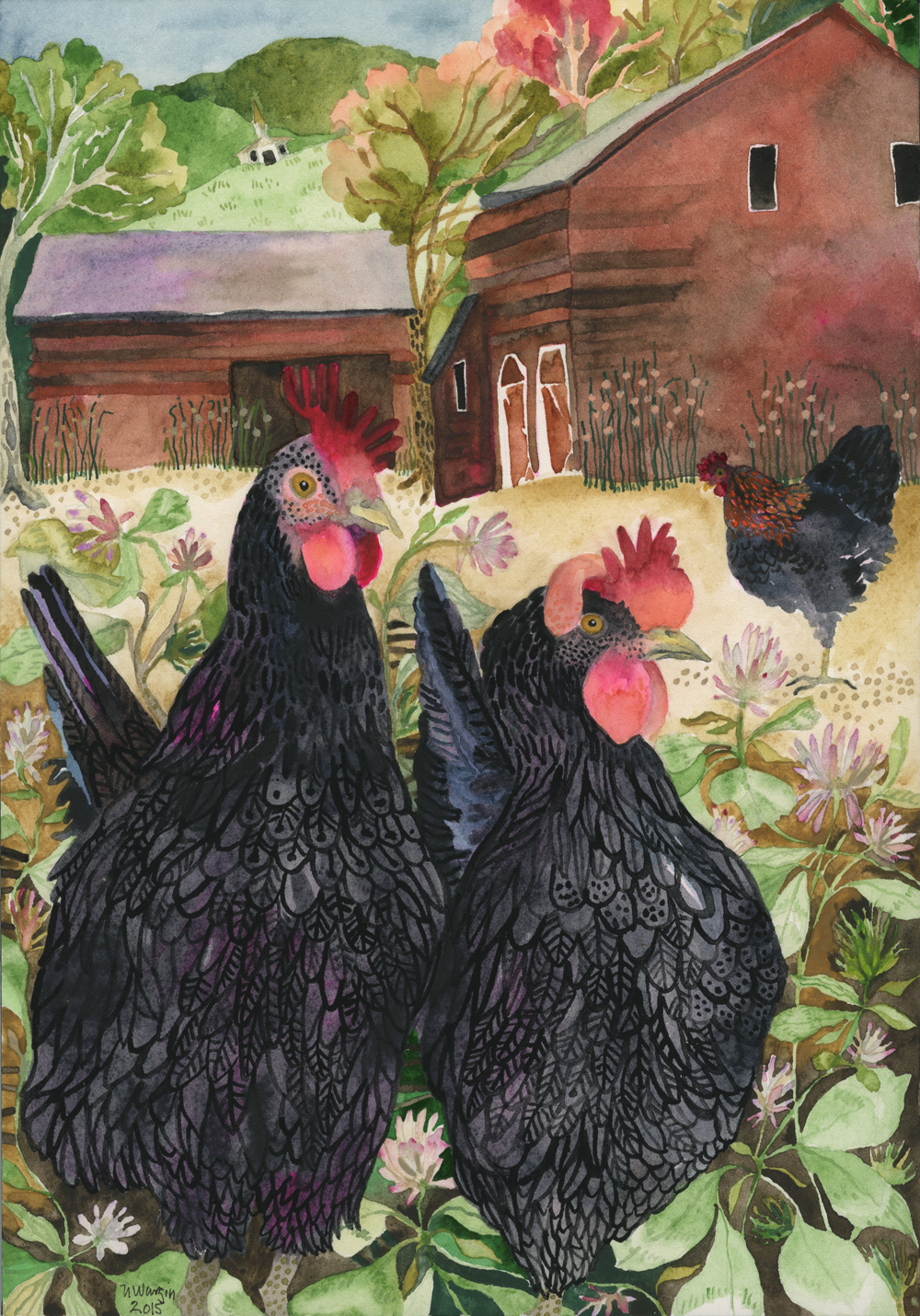 """Three Black Hens in Clover"""