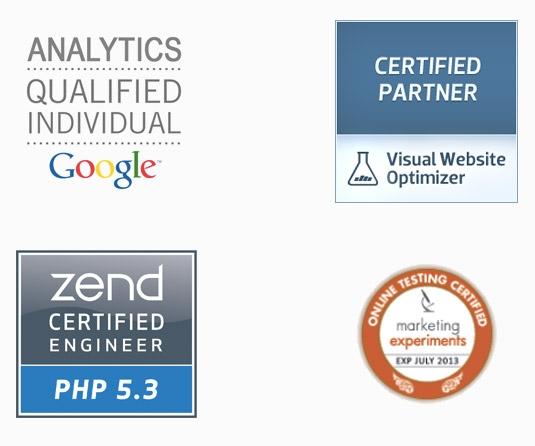 A ClickLab foi a primeira empresa da America Latina a ser certificada pela Visual Website Optimizer. Contamos com diversas certificações através do nosso quadro de colaboradores, incluindo certificações da Zend, Google e Marketing Experiments.