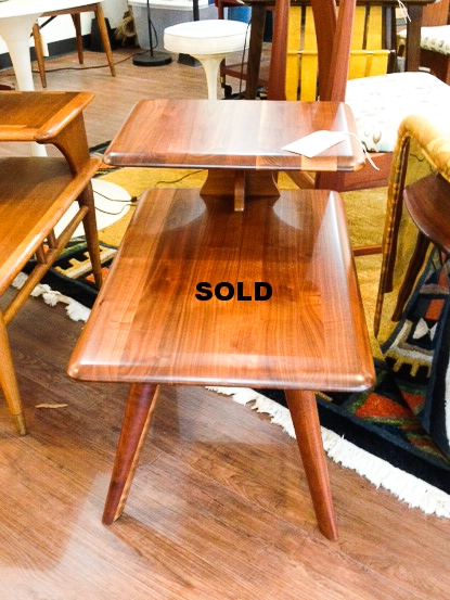 Fantastic walnut side table, refurbished, Bussman, Springfield , Mo., 1959.  SOLD