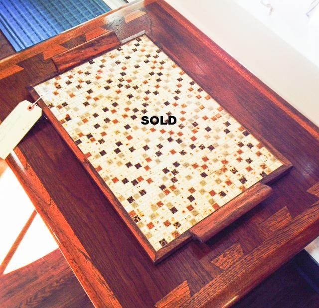 Ceramic mosaic teak tray.