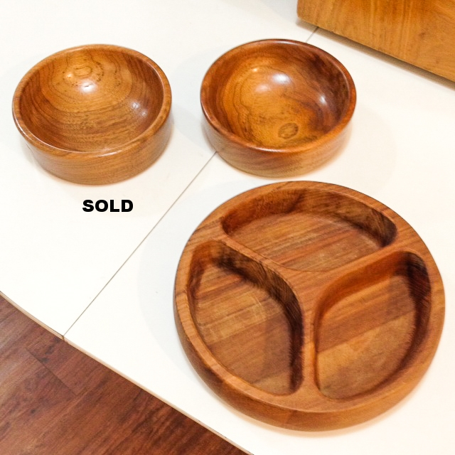 Walnut bowls made by wood craftsmen strawvalley, Durham, NC and Dansk teak nut bowl.