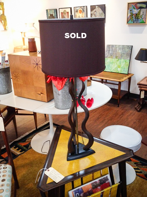 1960's walnut and brass lamp with new chocolate lamp shade.