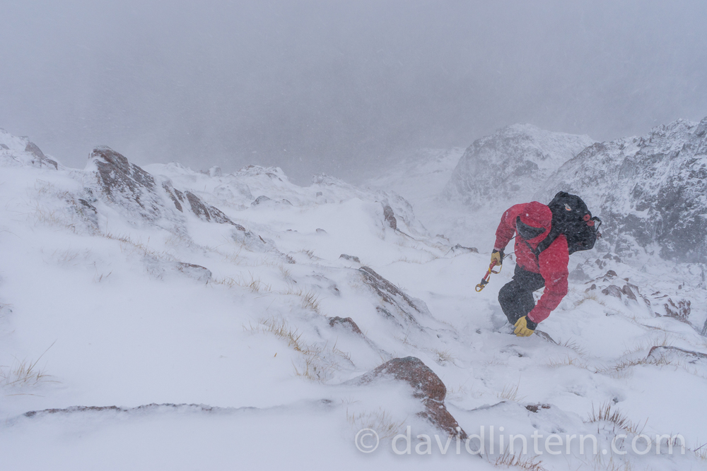 My mate Mick on what he said afterward was his first winter mountaineering route, from 2 weeks ago. I didn't quite believe him, but we don't get to say how hardcore this was. Only he does.