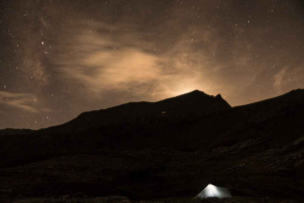 Later that same night. A sloppy photo with an overly long exposure but in an impressive location. Our stay was accompanied by lightning flashes and distant booms for several hours, but from many miles away, bouncing around abstractly in the high cirque.
