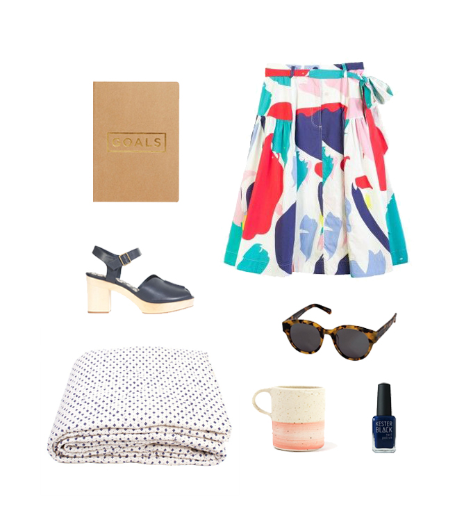 Goals Notebook  + Migoals   Seaspray Skirt  + Gorman   Hokey Pokey Clog  + Gorman   Anywhere Crazy Tort Sunglasses  + Karen Walker   Stepped Cross Quilt  + Arro Home   Pink Stripe Mug  + Arro Home   Periwinkle Nail Polish  + Kester Black
