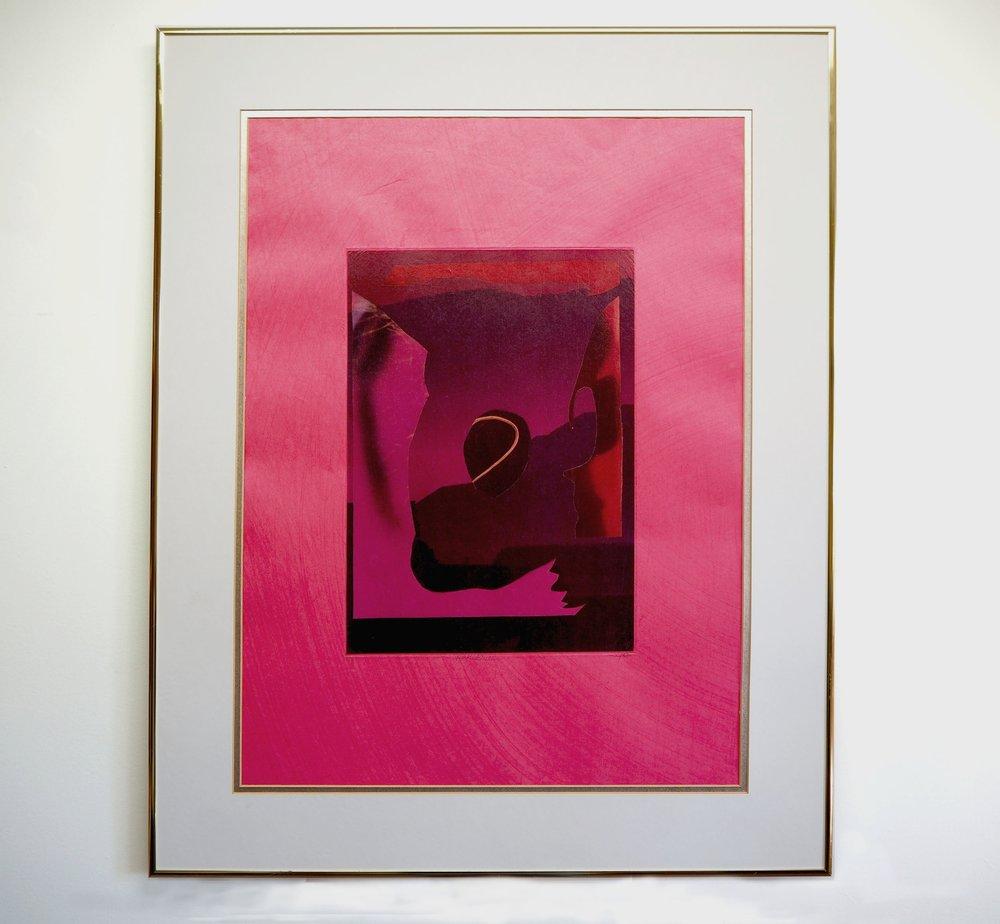 """Pink Douleur 25""""x 19"""" - impression jet d'encre sur gampi chine-collé sur kozo fushia - Édition de 2"""