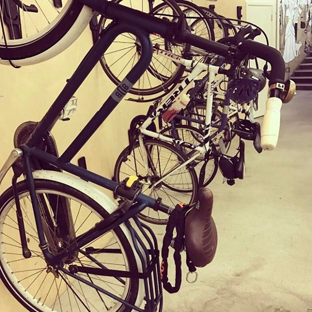 Office bike rack 🚲 #sharedspace #thebrew