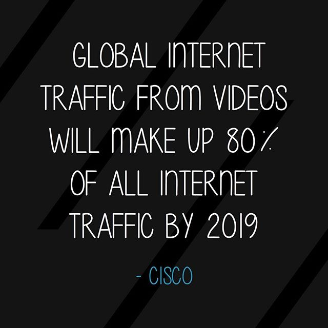 Global internet traffic from videos will make up 80% of all internet traffic by 2019 #designstat @cisco