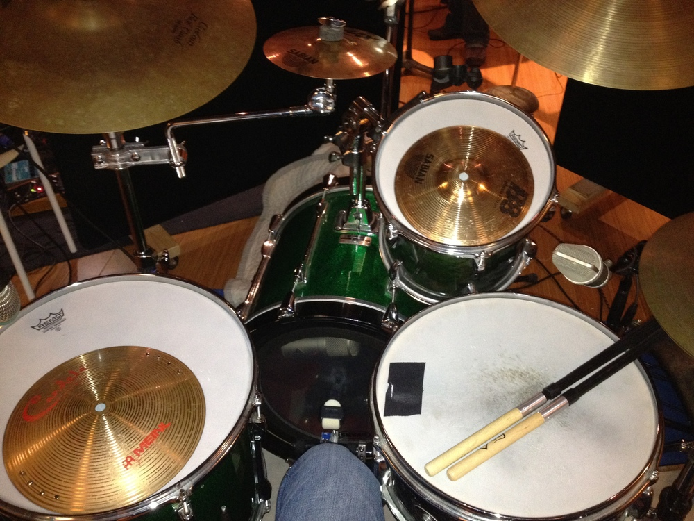 "My setup for ""Boots.""  The combination of the plastic brushes and cymbals on the toms were really cool!"