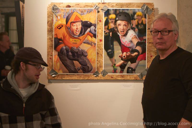 Henry Feather (right) with his son Harrison at the Double Vision Gala Opening, March 6th, 2014. (Photo by Angelina Coccimiglio)