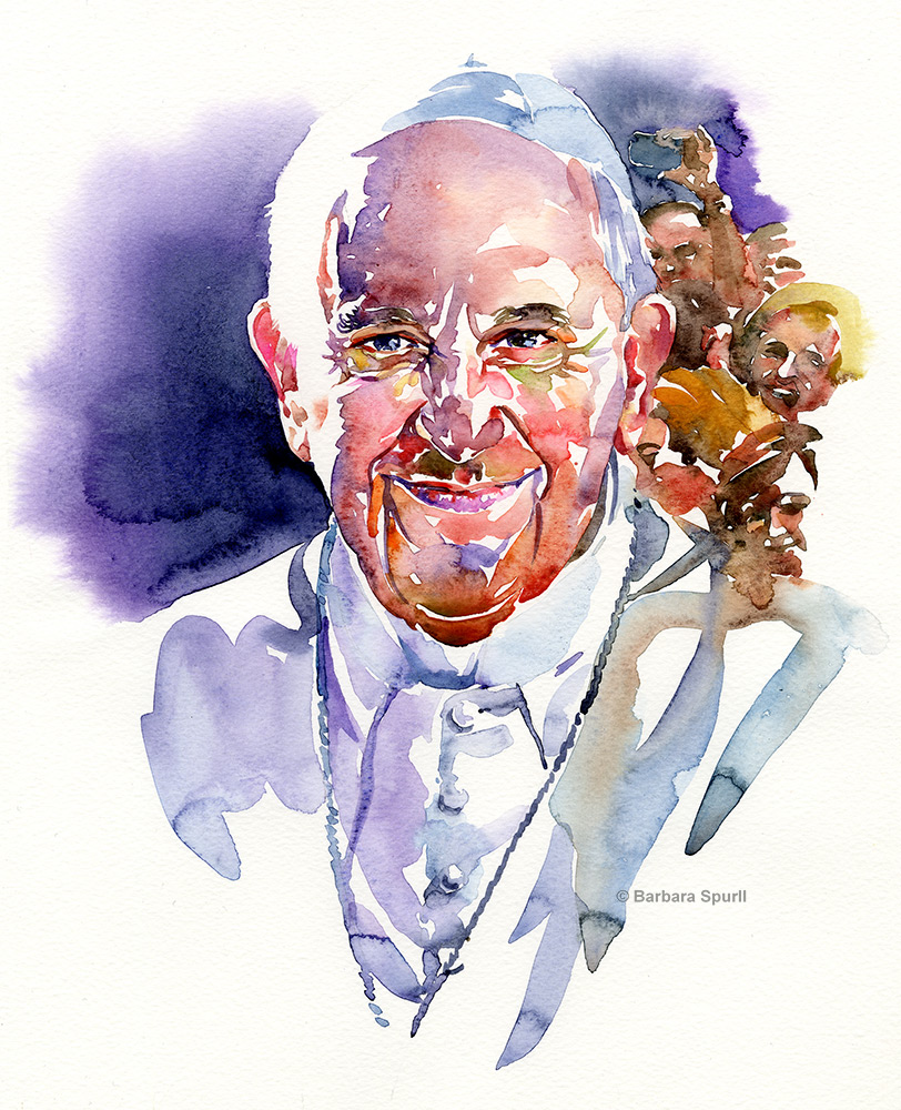 Watercolour portrait of Pope Francis by Barbara Spurll