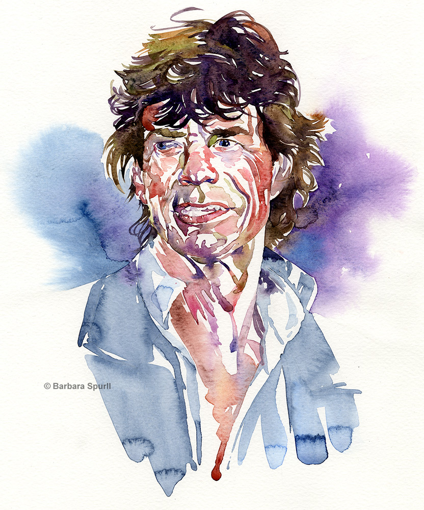 Watercolour portrait of Mick Jagger by Barbara Spurll