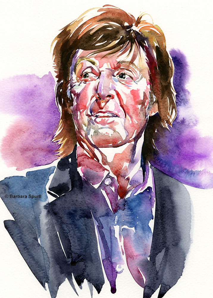Watercolour portrait of Paul McCartney by Barbara Spurll
