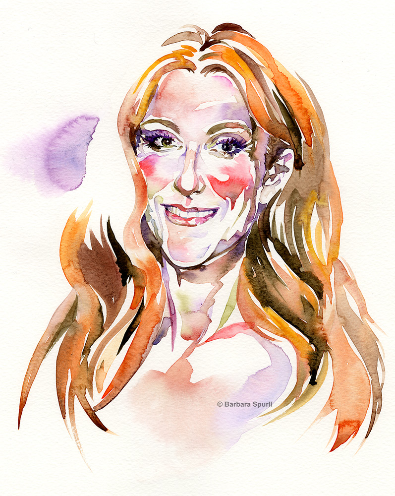 Watercolour portrait of Celine Dion by Barbara Spurll