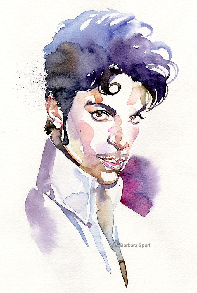 Watercolour portrait of Prince, 11 x 14 inches, ©Barbara Spurll