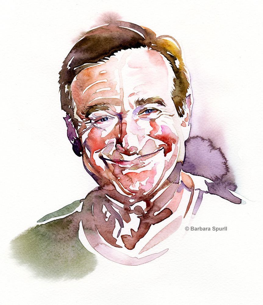 Watercolour portrait of Robin Williams by Barbara Spurll