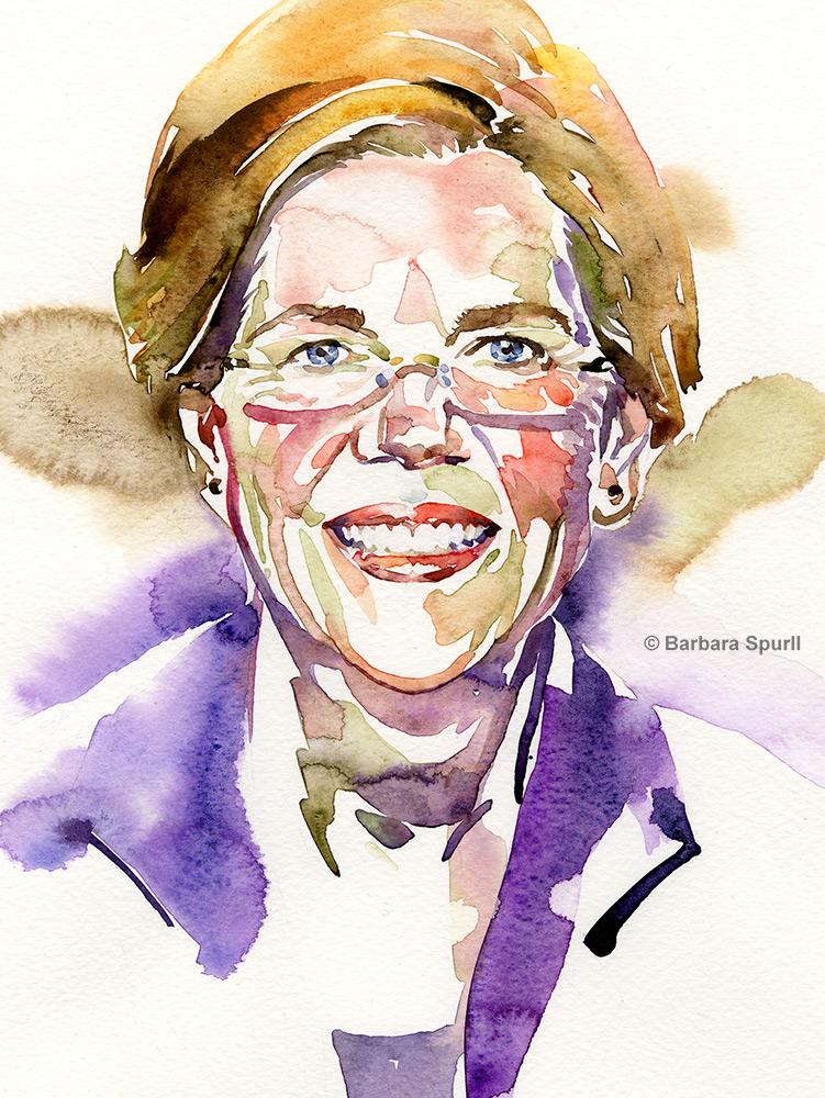 Watercolour portrait of Elizabeth Warren by Barbara Spurll