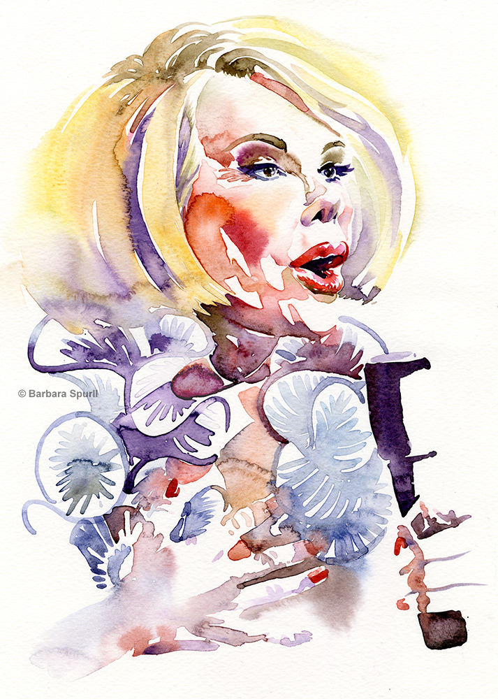 Joan Rivers, watercolour portrait by Barbara Spurll