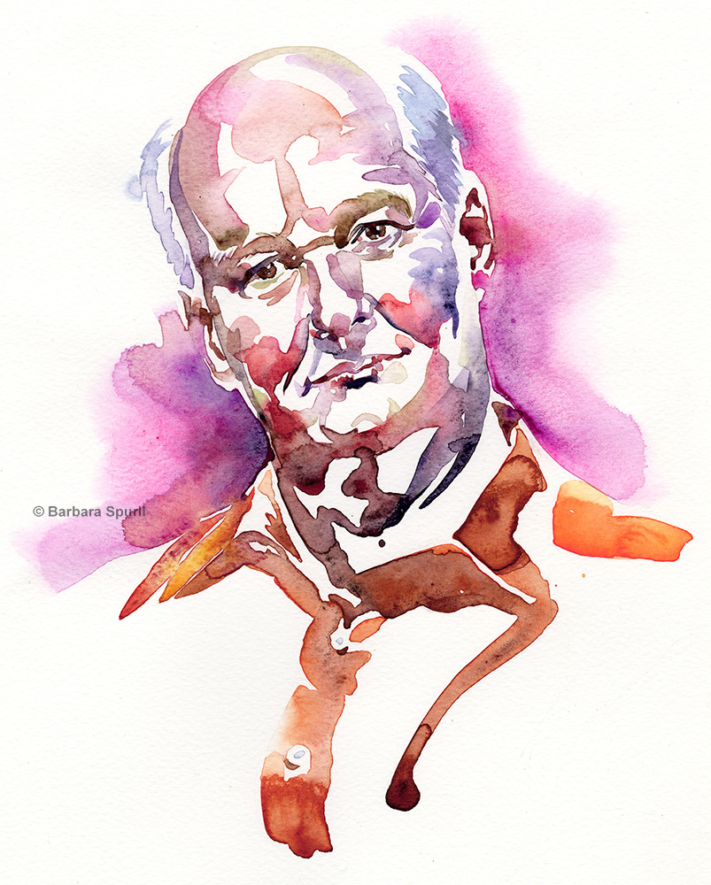 Watercolour portrait of Colin Mochrie, 11 x 14 inches, ©Barbara Spurll