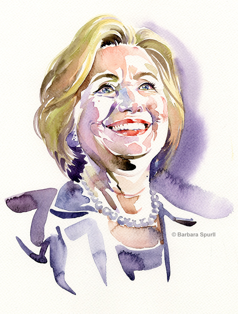 Watercolour portrait of Hillary