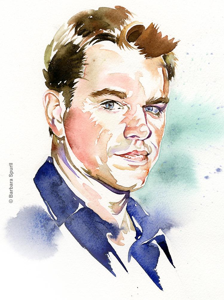 Matt Damon watercolour