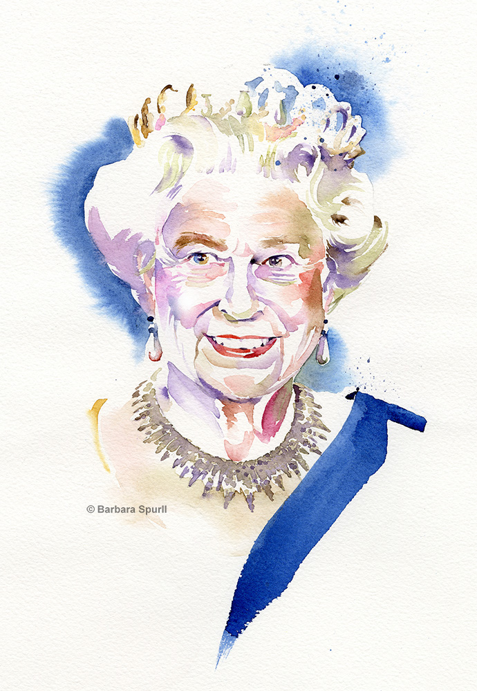 Queen Elizabeth II, portrait by Barbara Spurll