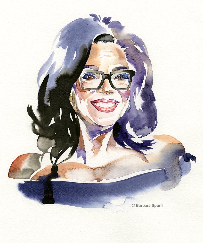 Oprah Windfrey, watercolour portrait by Barbara Spurll