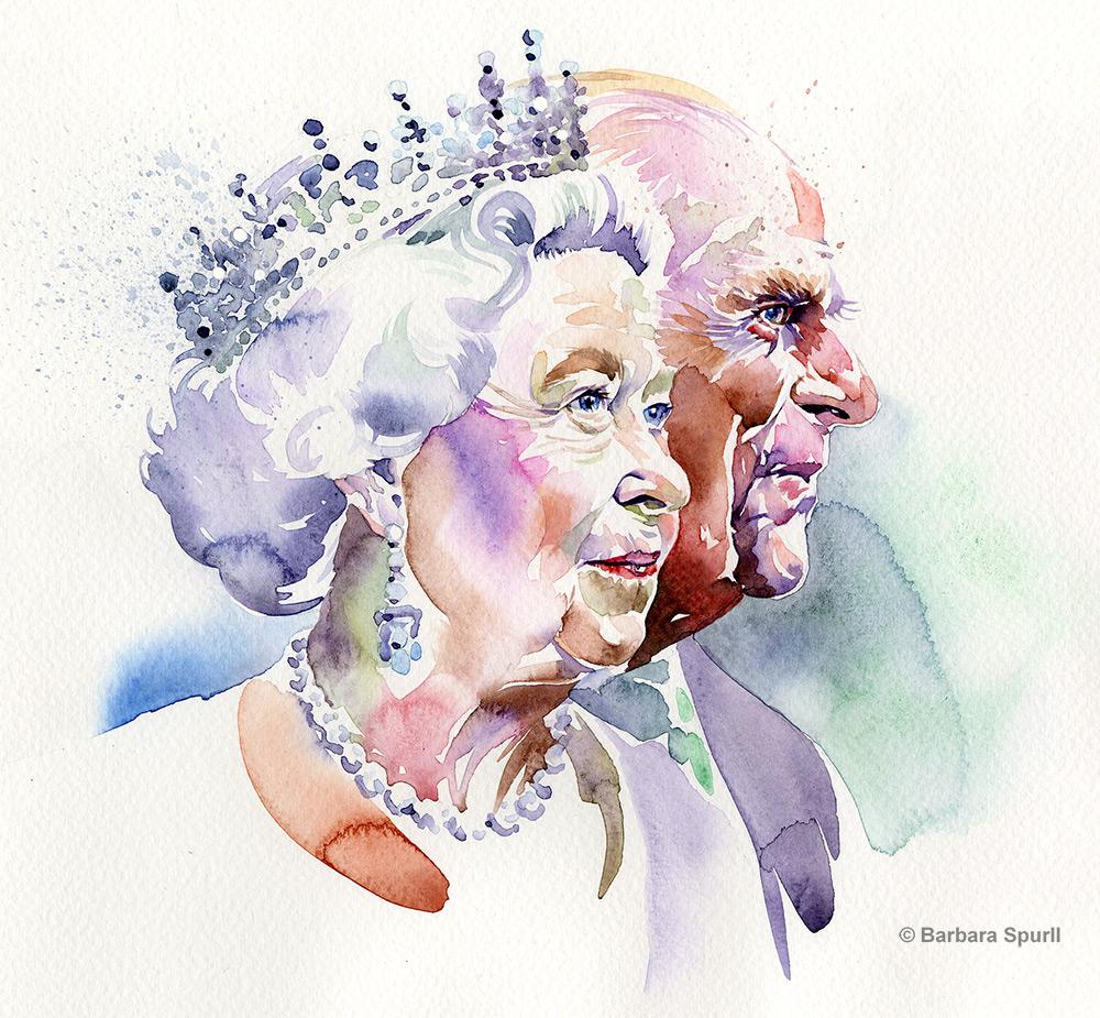 Elizabeth II and Prince Phillip watercolour portrait