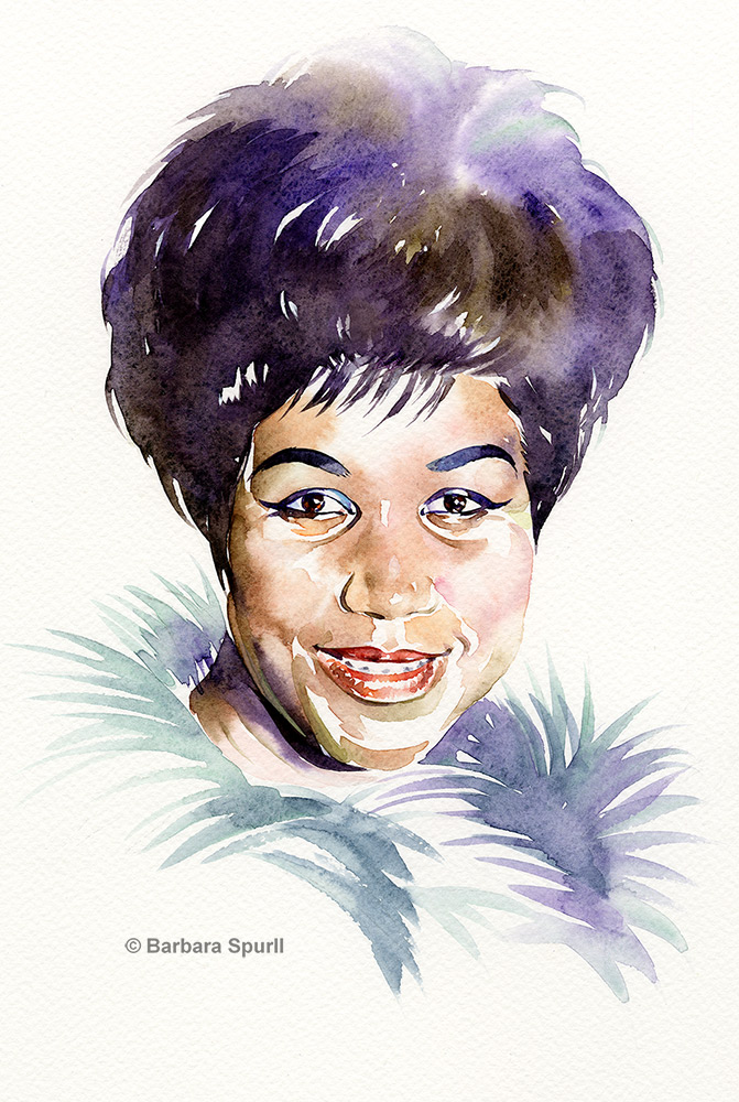 Aretha Franklin watercolour portrait by Barbara Spurll