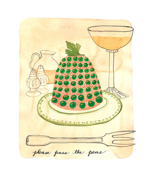 Peas Please, watercolor and ink on paper, Golly Bard | Holly Ward Bimba  © all rights reserved