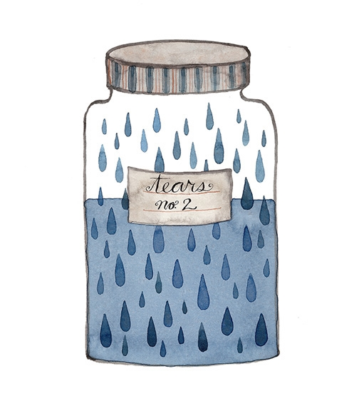 Jar of Tears No. 2, watercolor on paper, Golly Bard | Holly Ward Bimba © all rights reserved