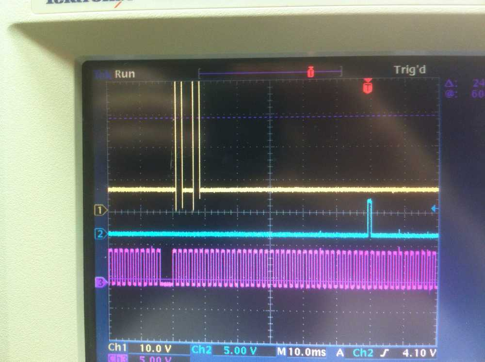 Oscilloscope showing all 3 signals together.