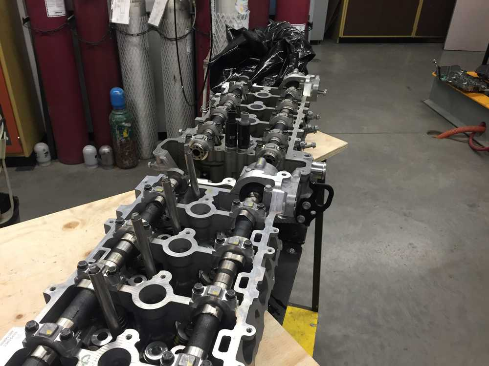 New and old cylinder head lined up.