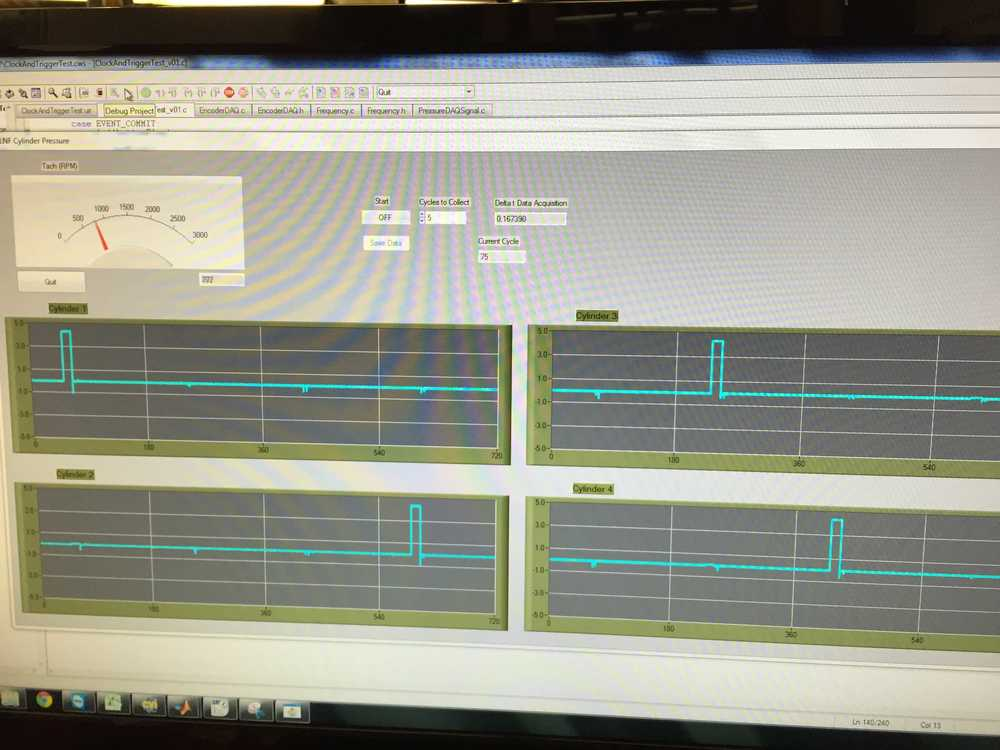 Sending spark signal to NI DAQ card to test the cylinder timing.